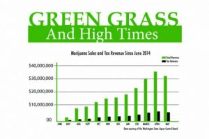 Graph of marijuana sales and tax revinue since June 2014.