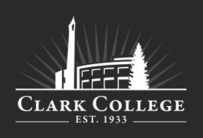Black and white logo of Clark College.