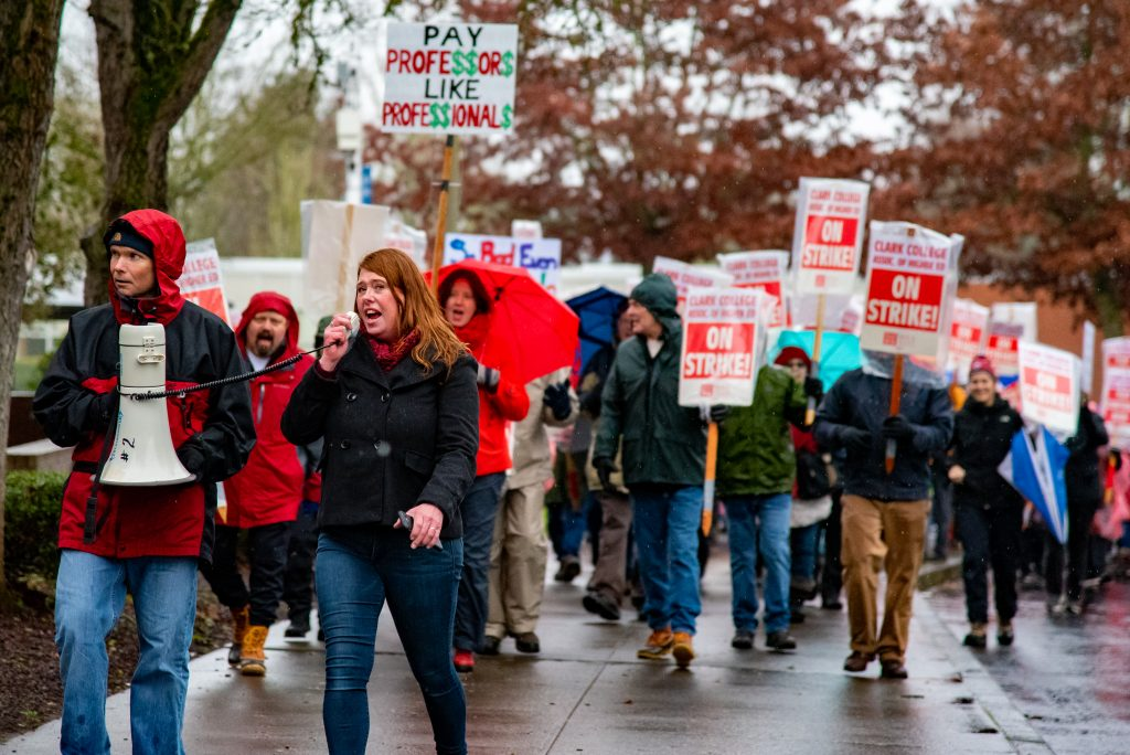 Faculty members walk the picket line Jan. 13