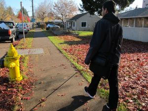 Miguel Viveros walks from Clark College to his home at the Washington State School for the Blind. Dylan Turk/The Indy