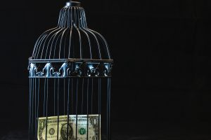 A dollar bill locked in a cage.