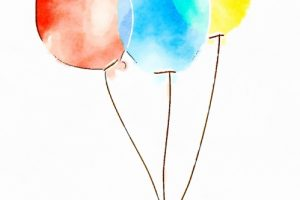 Red, blue and yellow drawn balloons