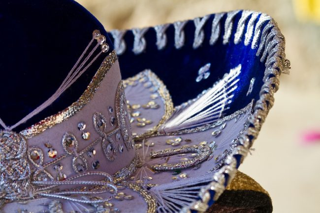 blue sombrero with beads and gold thread beautifully decorated.