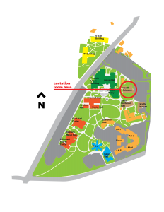 This is a map of the campus that points out the location of the Health and Science building which is where the lactation rooms are located.