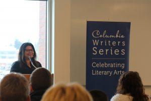 Image displays Mailhot speaking at the Columbia Writer's Series.