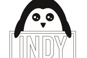 Cartoon style Oswald holding The Indy logo