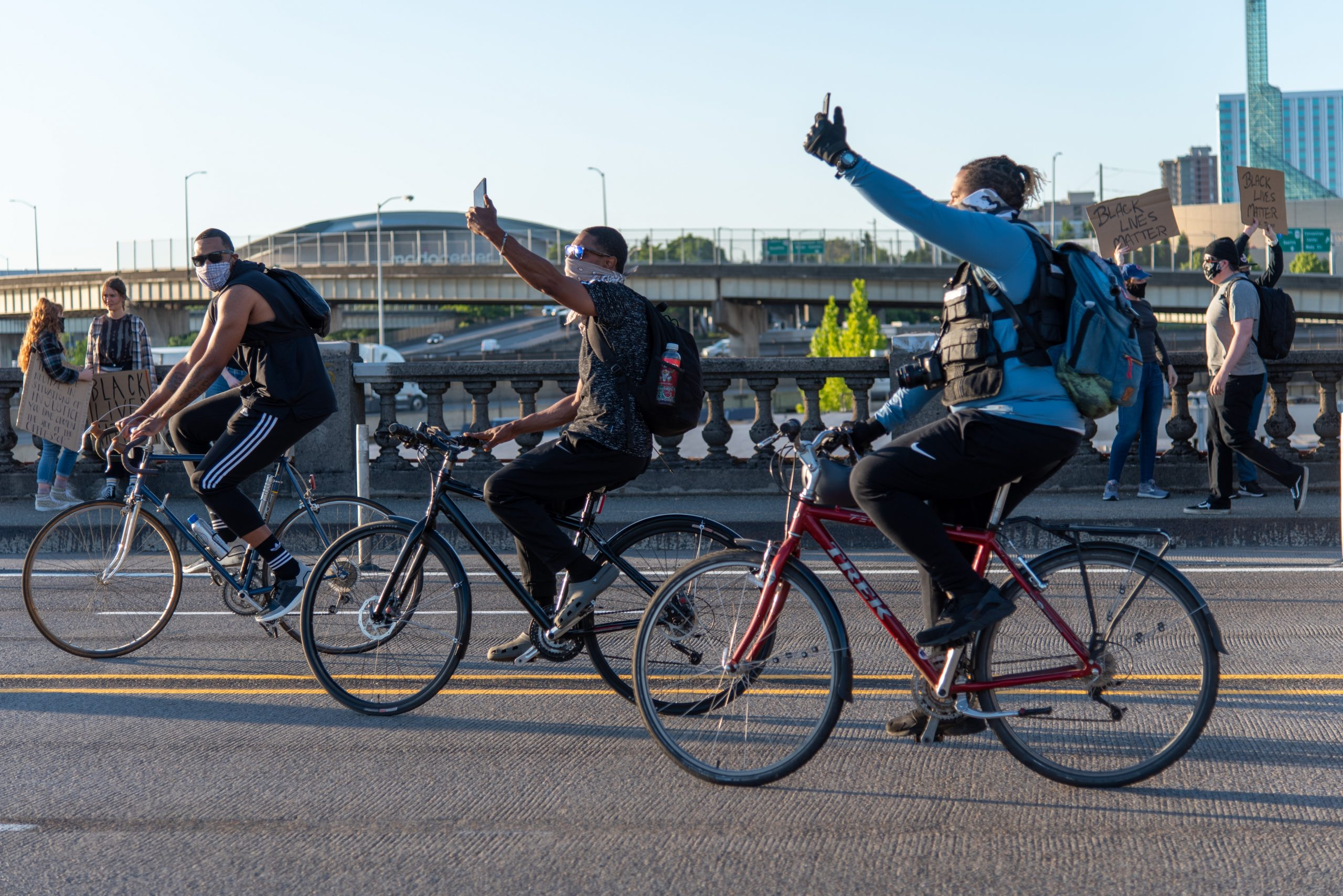 On June 10 protesters lead by teams of bikes cross the Burnside Bridge on the way to Chapman Square in downtown Portland.(Matt Fields/The Indy)