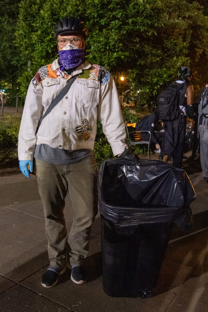 Jackson, a Portland resident, chose to help by voluntarily cleaning up the areas protesters have gathered. Friday June 5.(Matt Fields/The Indy)