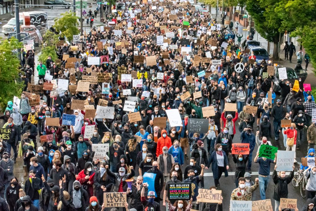 Thousands of protesters march down MLK Jr. Boulevard and onto the Hawthorne bridge on June 5 in Portland.(Matt Fields/The Indy)
