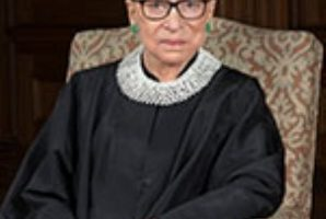 A portrait of Ruth Bader Ginsburg.