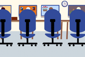 a graphic depicting chairs in front of computer screens displaying the virtual tutoring center