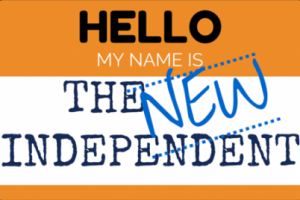 Hello name tag graphic introducing the new independent website.