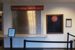 The now-shuttered Supa front counter in Joan Stout Hall.