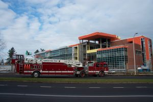 Photo of firetruck in front of the STEM building.