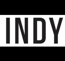The word INDY in black borders