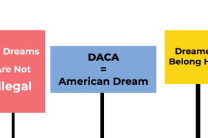 Digitally drawn protest signs in favor of DACA