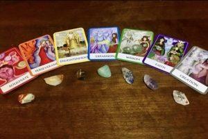 Chakra tarot cards with chakra stones