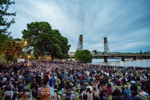 Organizers estimated 7000 people gathered at Tom Mccall waterfront park in downtown Portland Tuesday June 4.(Matt Fields/The Indy)